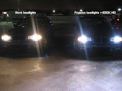 BMW E36 M3s Stock Halogen Vs 6000K HIDs With Ellipsoid Projectors